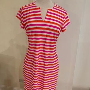 Striped jersey knit Short Sleeve dress